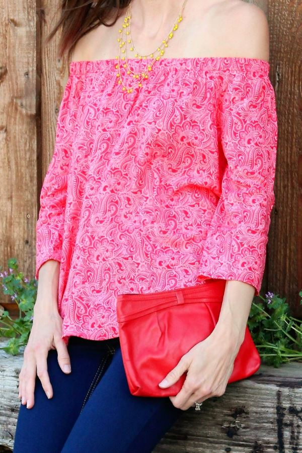 Red, multi-patterned off-the-shoulder blouse in tall.