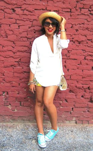Show off your long legs in a white summer outfit.
