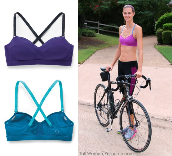 The Hot Shot sports bra has self-adjusting braided straps that work for long torsos.