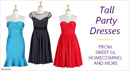 Tall girls junior party dresses include prom, homecoming, and sweet 16 formal gowns.