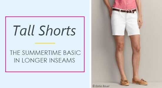 Women's tall shorts include bermuda, denim, khaki, and cargo styles, and come in a variety of inseam lengths.